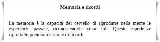 Memoria e ricordi
